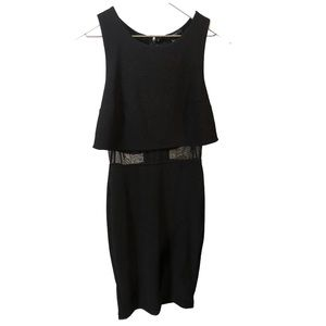 Black Sleeveless Midi Dress Sheer Detail Small